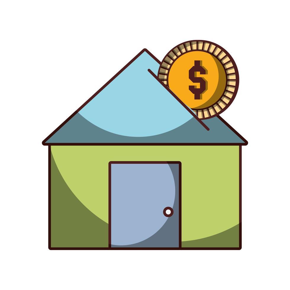 denaro investimento casa affari icona isolato design ombra vettore