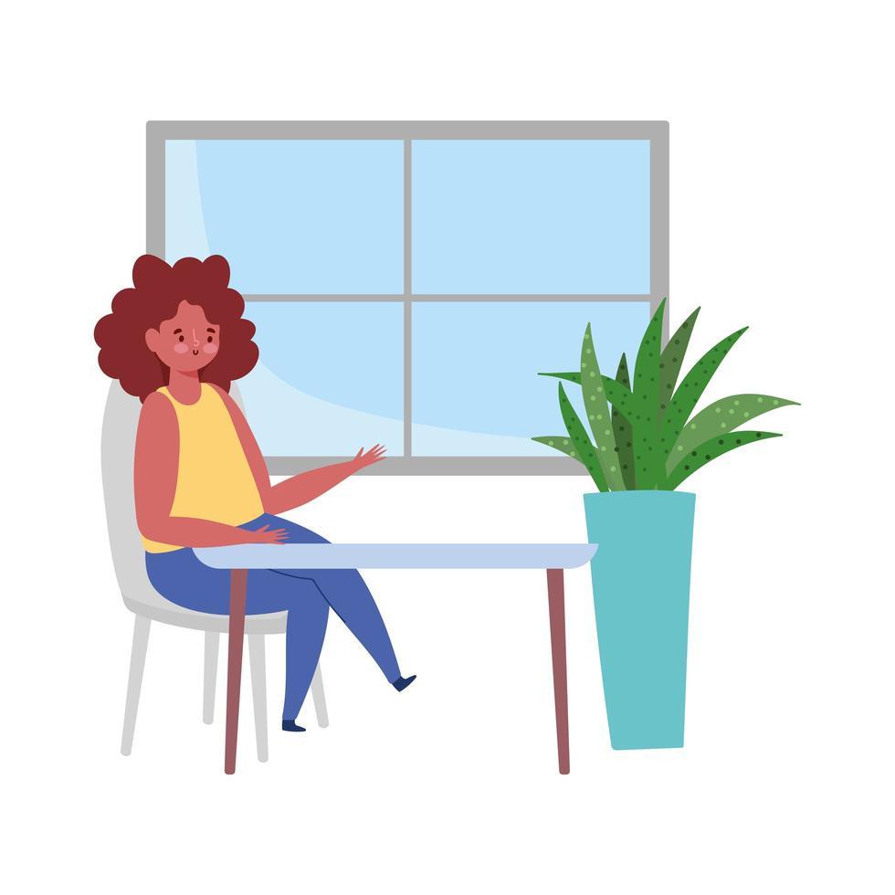 donna seduta al tavolo, ristorante mantenere le distanze, design isolato vettore