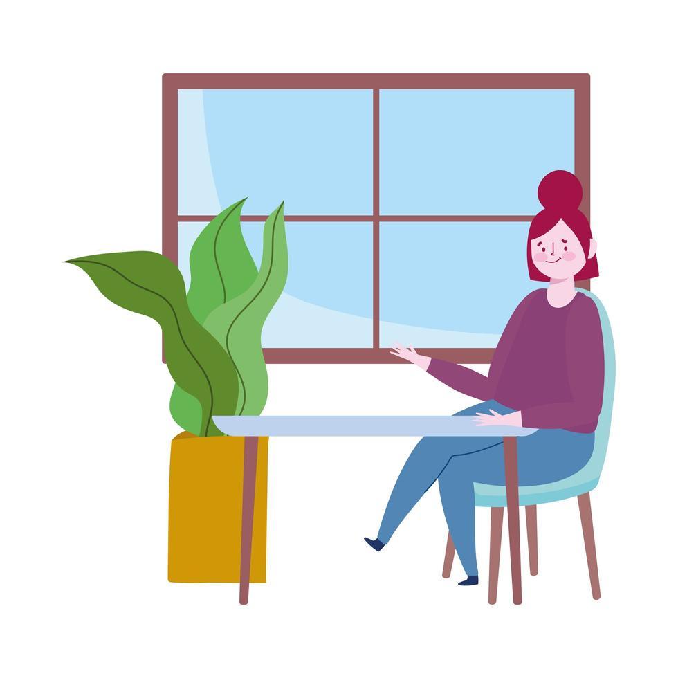 ristorante allontanamento sociale, donna seduta da sola a tavola, mantenere le distanze per rischio di infezione epidemia di malattia, covid 19 vettore