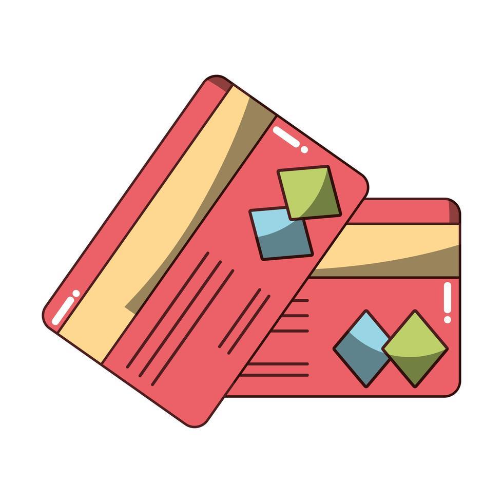 denaro affari finanziari carte bancarie icona di credito design isolato ombra vettore