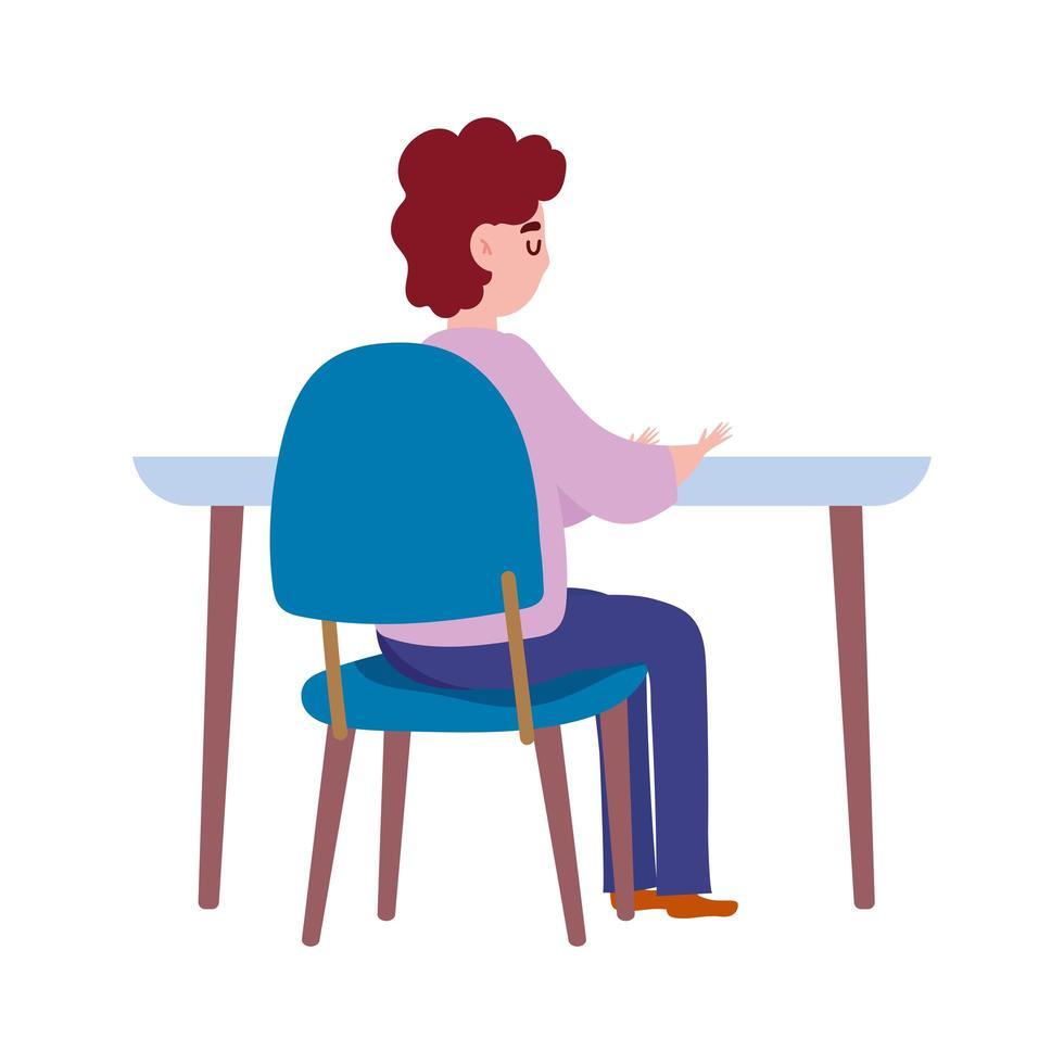 vista posteriore uomo seduto sul tavolo isolato icona del design vettore