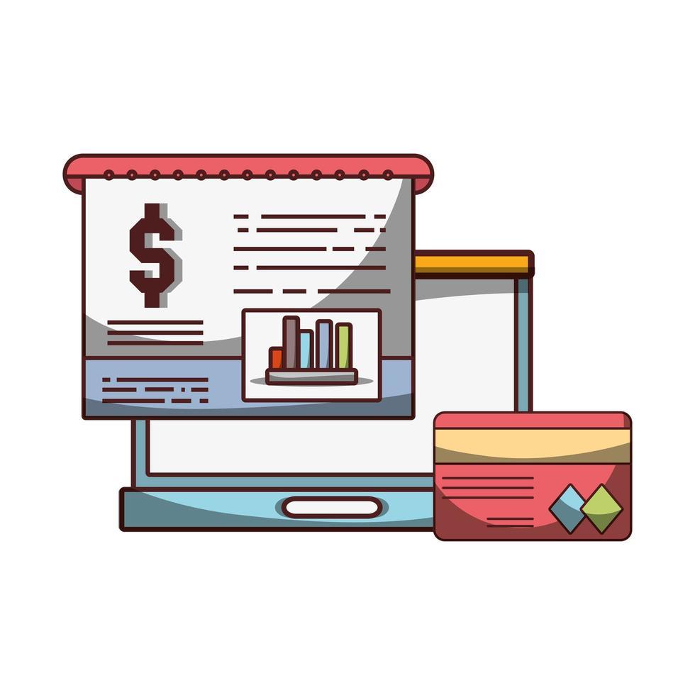 soldi affari finanziari laptop report carta bancaria riuscita vettore