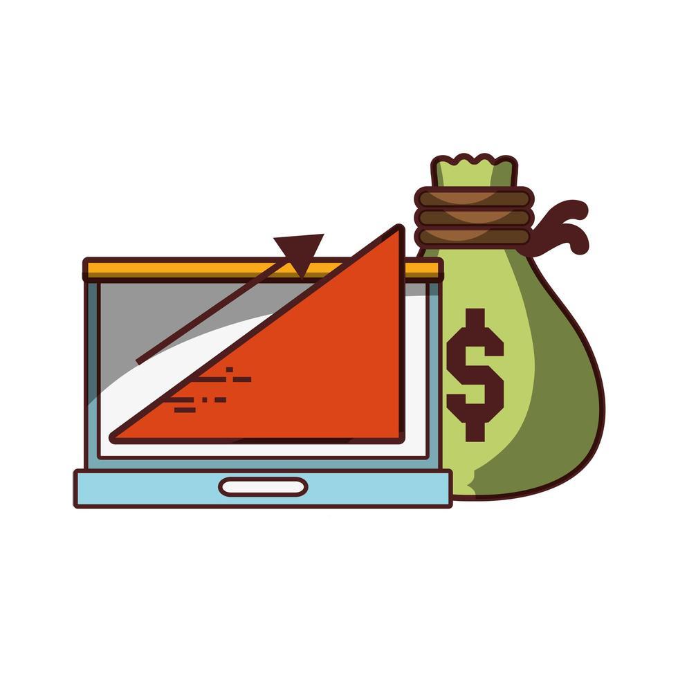 soldi affari finanziari laptop borsa soldi grafico profitto vettore