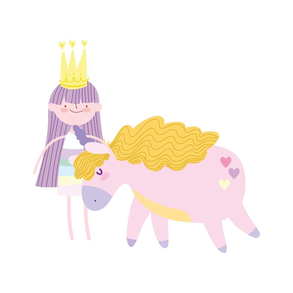 piccola fata con corona e unicorno cartoon icona isolato design vettore