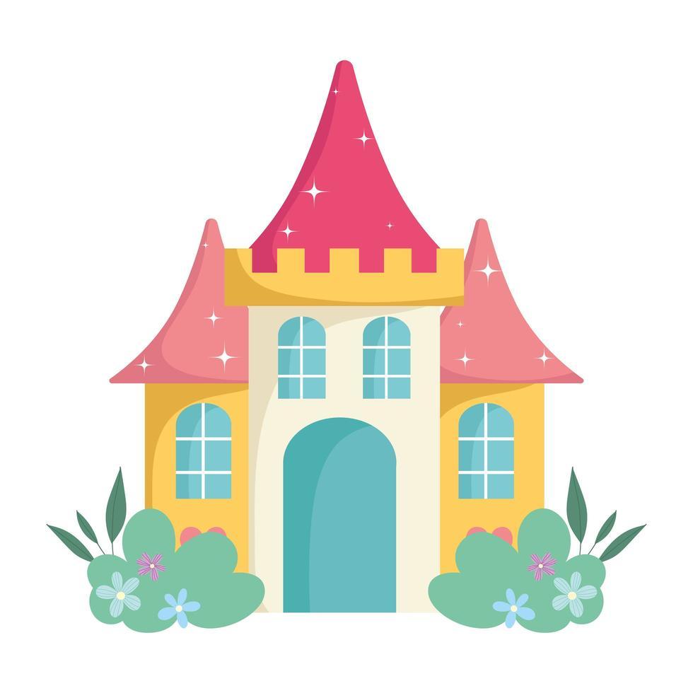 cartone animato castello fiaba fiori isolati icona design vettore