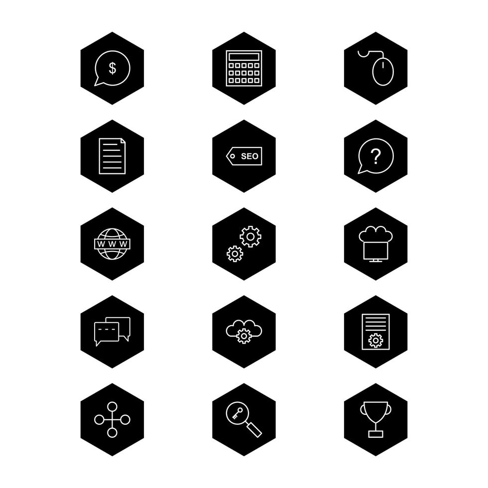 set di icone di ottimizzazione dei motori di ricerca per uso personale e commerciale ... vettore