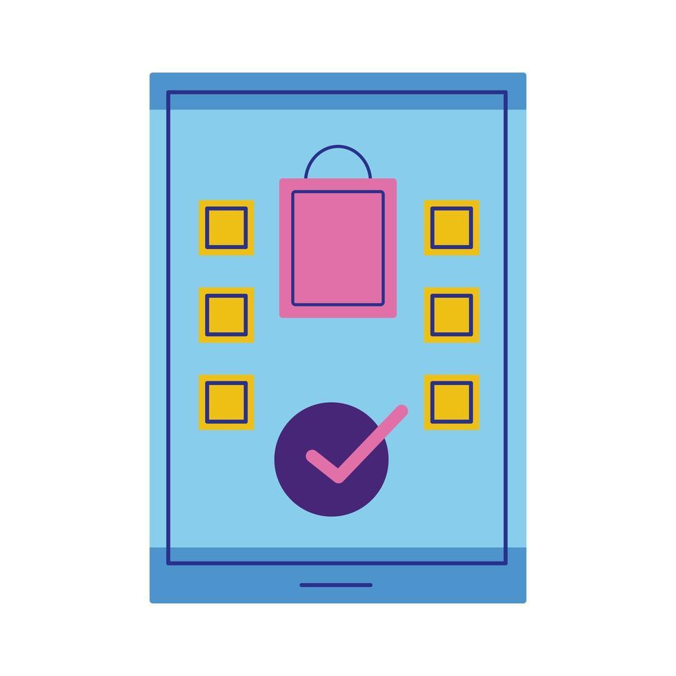 smartphone con icona di stile piatto borsa della spesa vettore