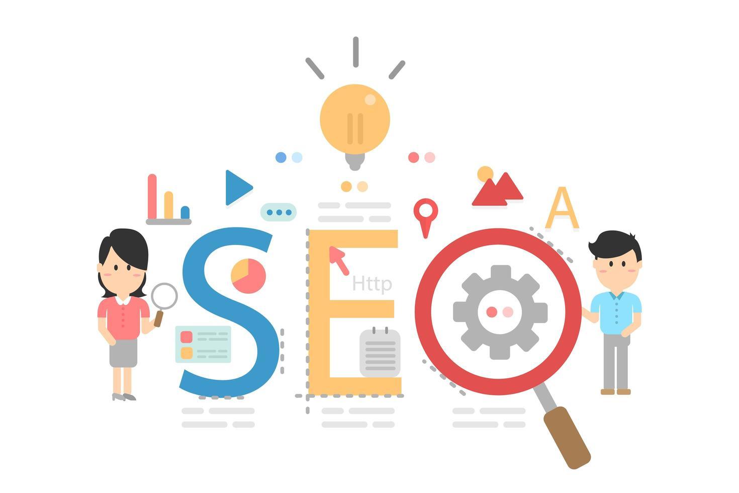ottimizzazione seo per sito Web e sito Web mobile vettore