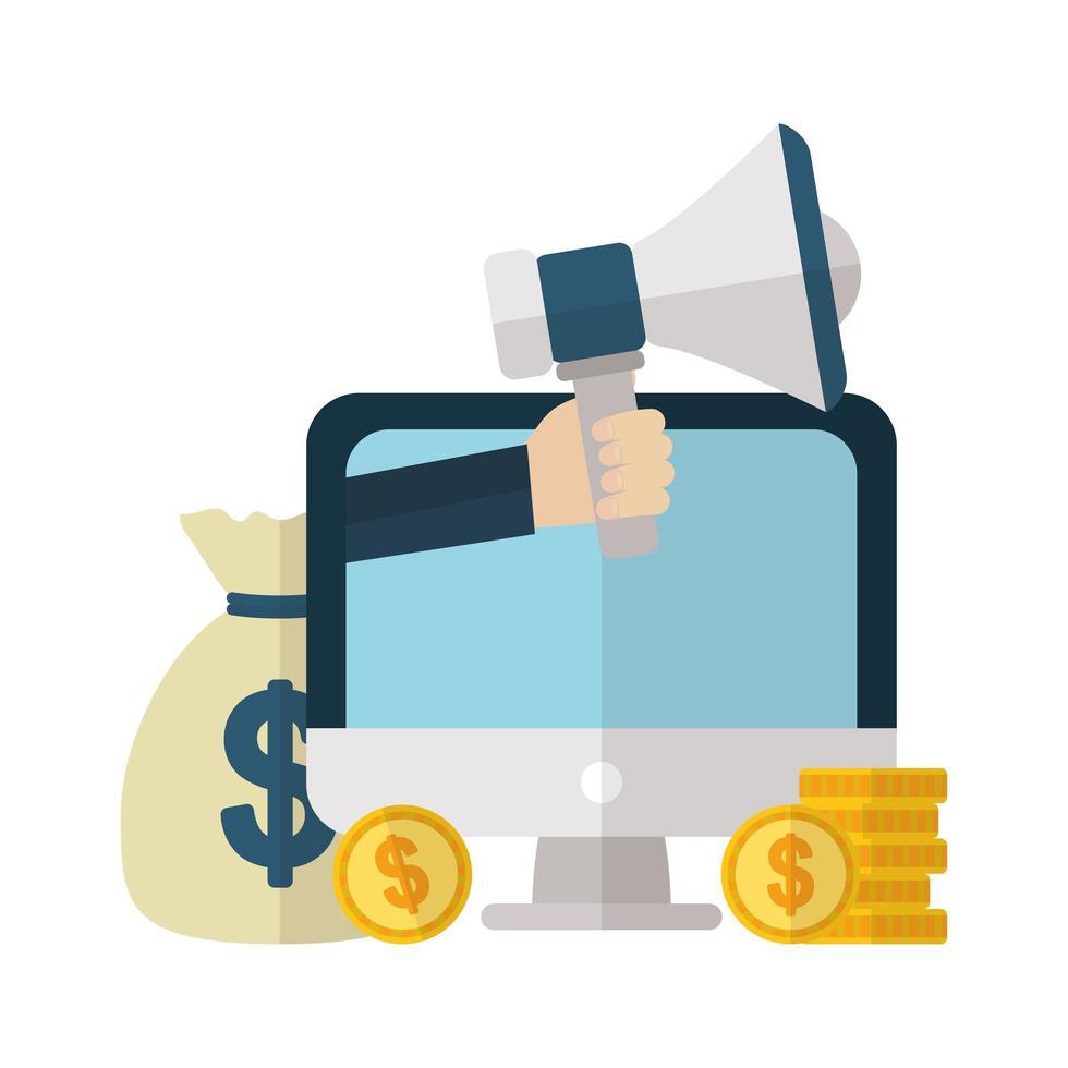denaro e icona finanziaria scenografia vettore