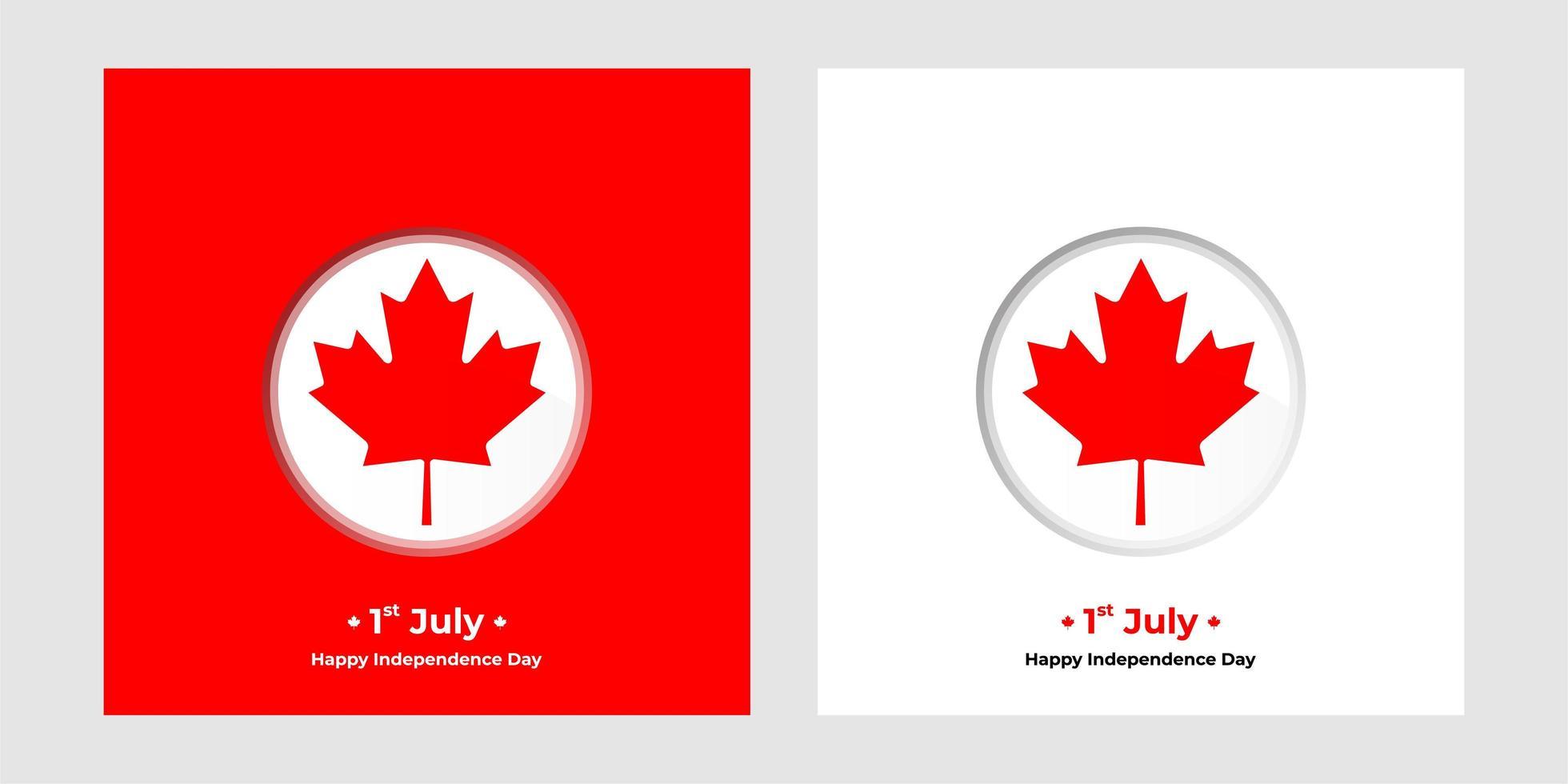 1 luglio giorno dell'indipendenza del canada square banner vettore