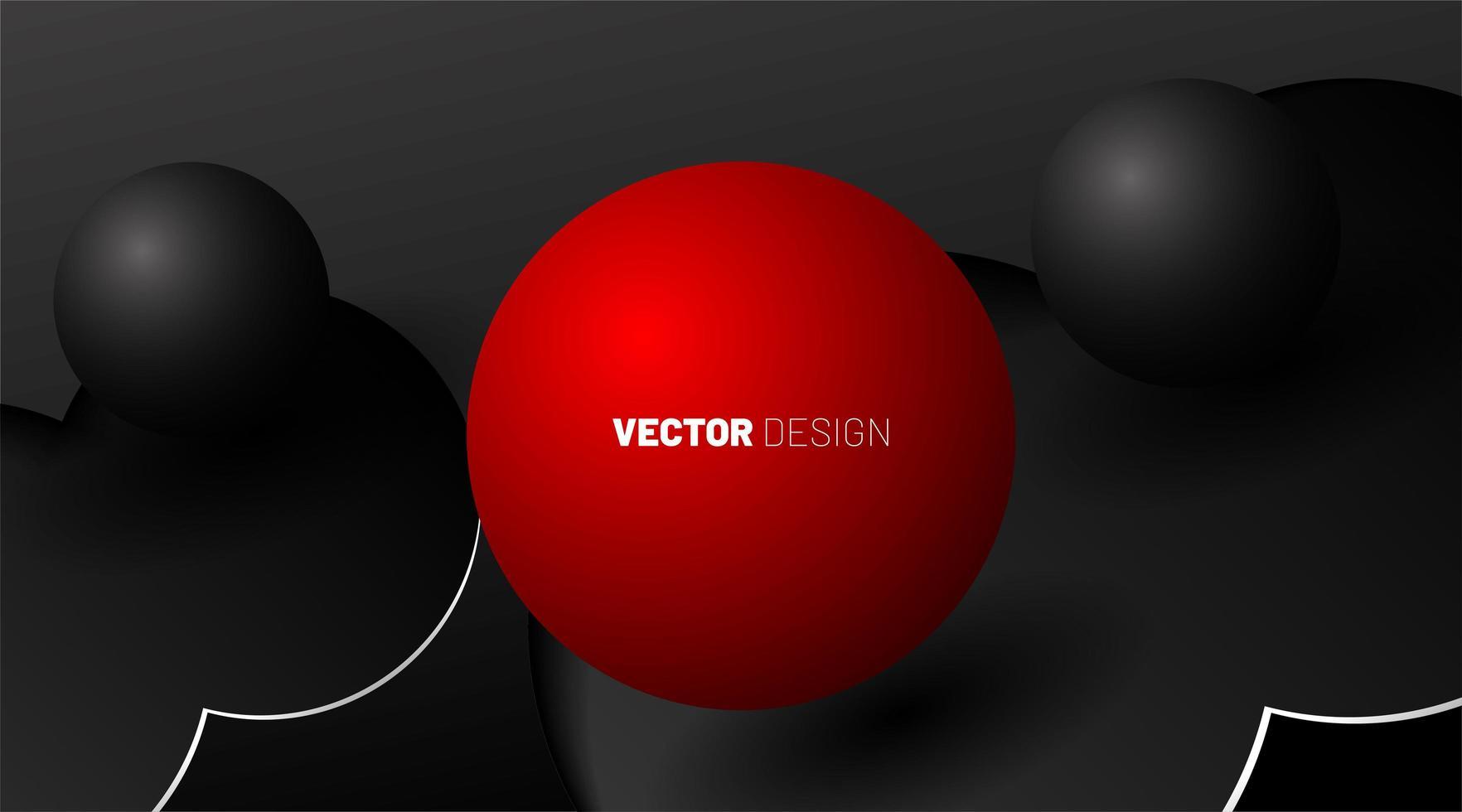 Forme 3D di palline rosse e palline grigie su uno sfondo scuro. vettore