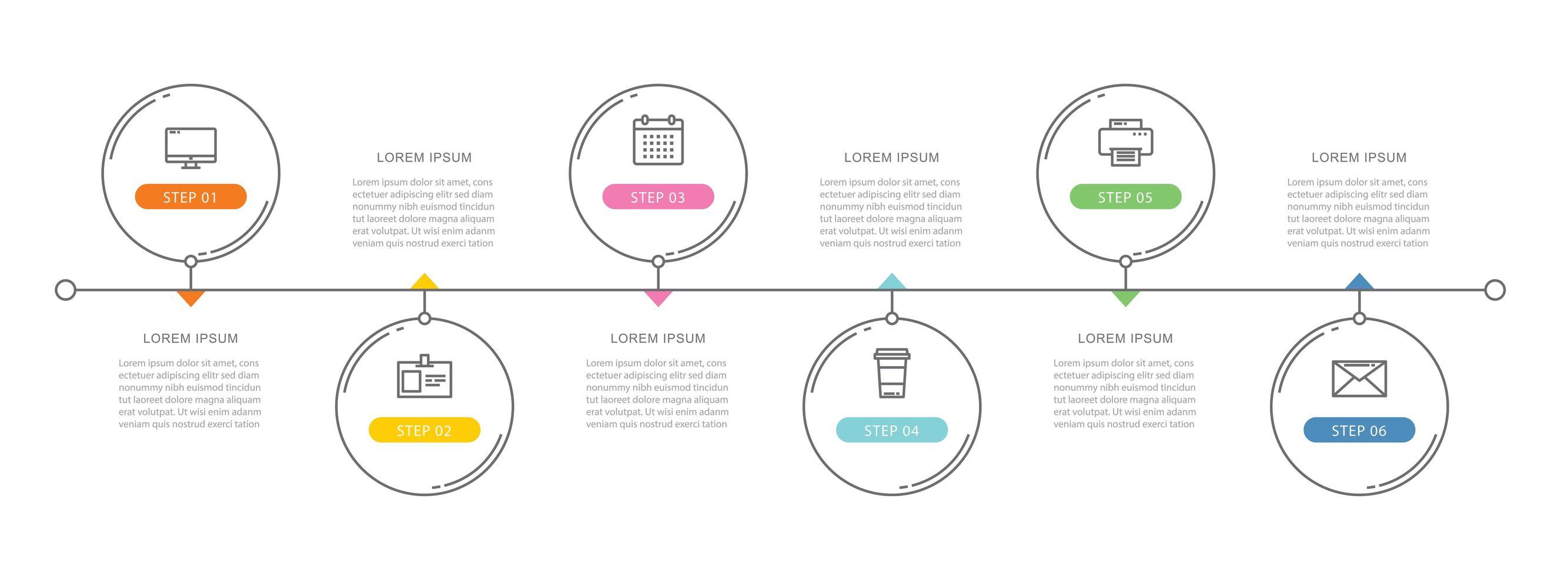 6 modello di infografica timeline dati cerchio con design sottile vettore