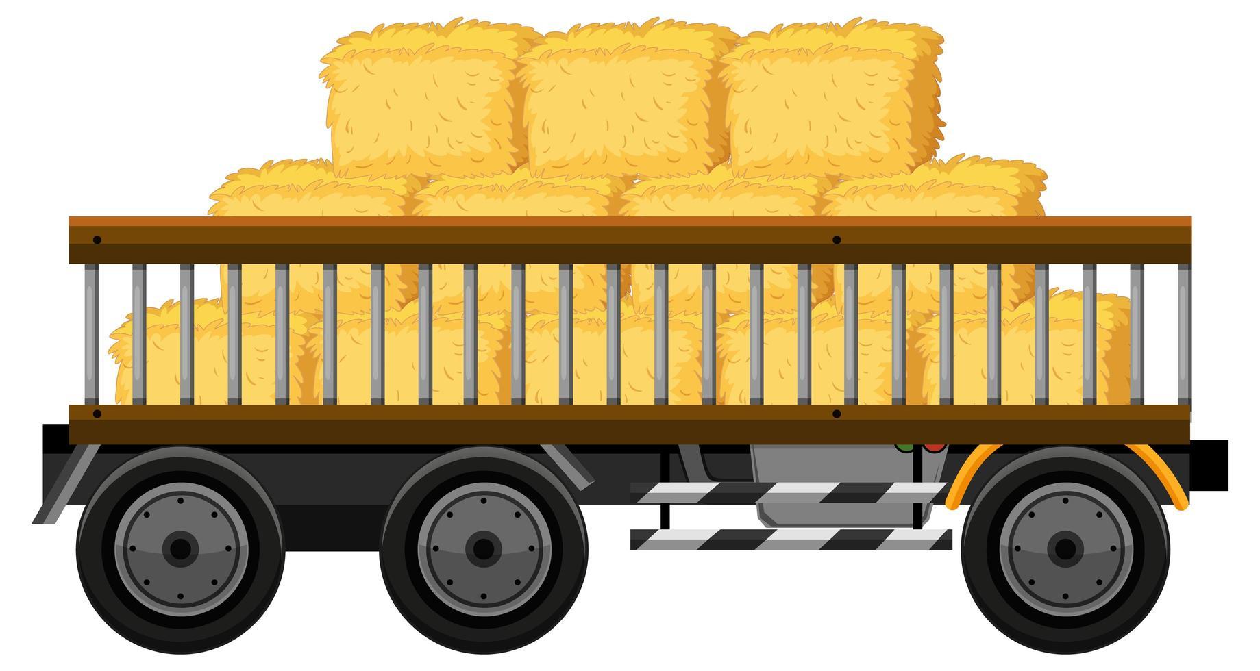 fieno su un carrello isolato su sfondo bianco vettore