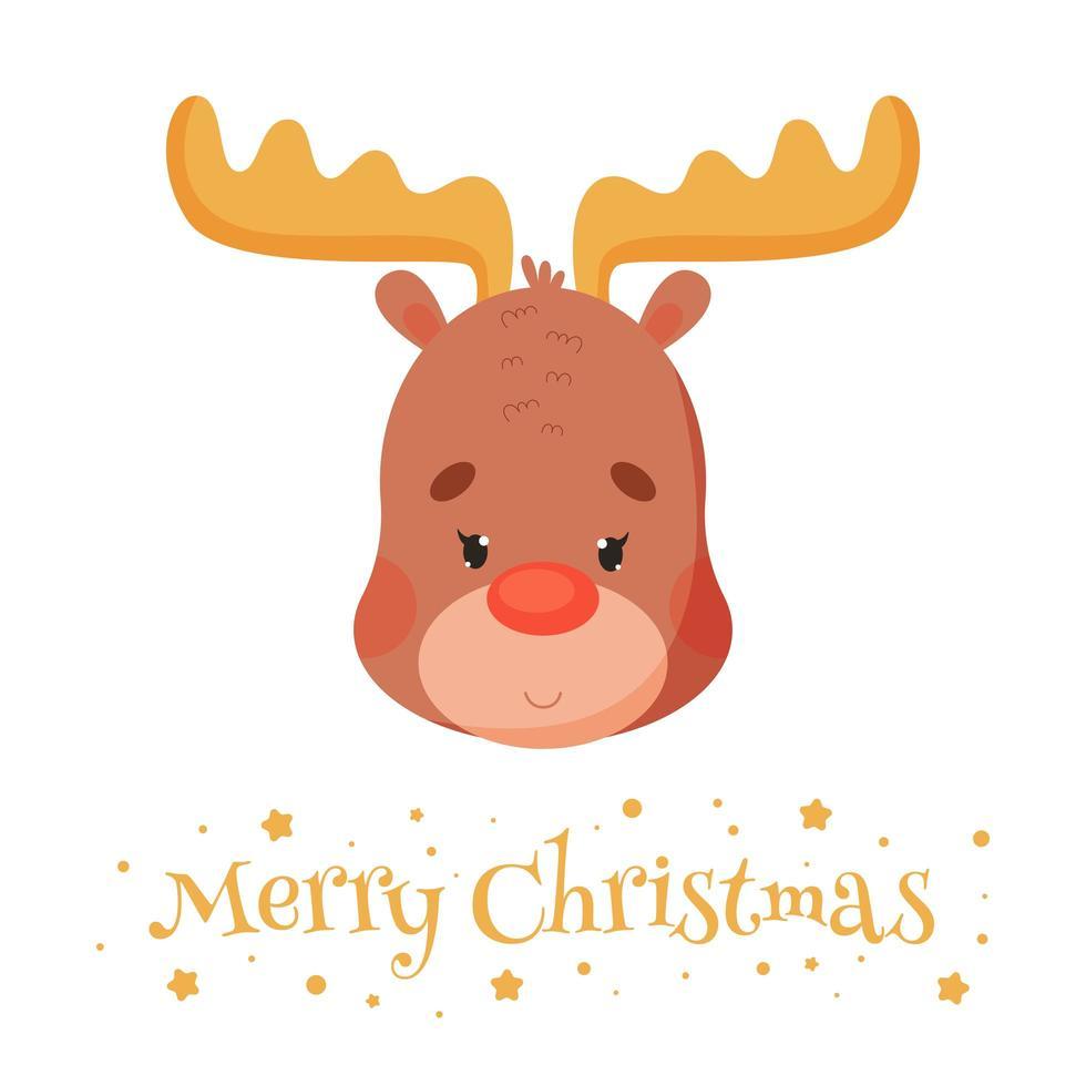 cartone animato carino renna, auguri di buon natale. illustrazione vettoriale. vettore
