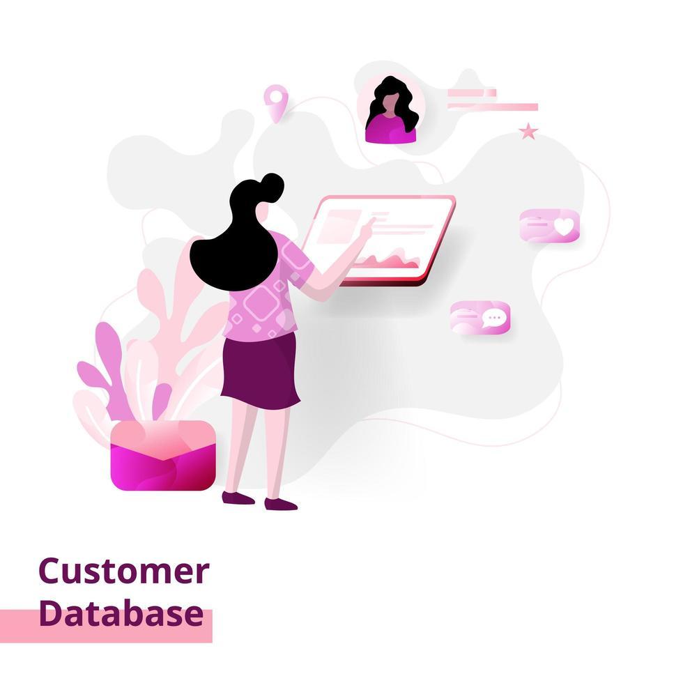 database dei clienti della pagina di destinazione vettore