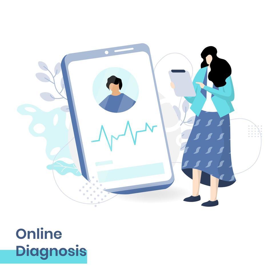 illustrazione piatta della diagnosi online, il concetto di una dottoressa che fornisce diagnosi al paziente tramite smartphone, adatta per essere posizionata su siti Web di pagine di destinazione e sviluppo di siti Web mobili. vettore