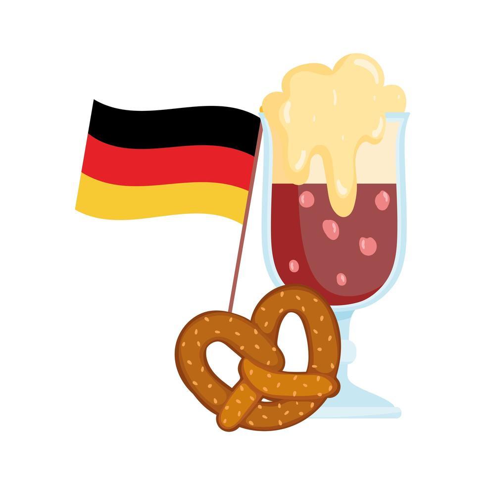 festival oktoberfest, pretzel alla birra e bandiera, celebrazione tradizionale tedesca vettore