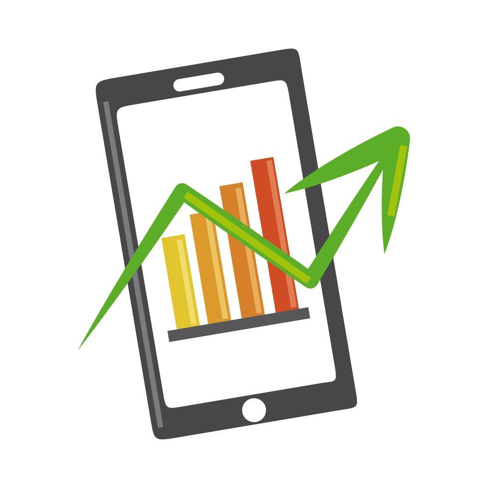 analisi dei dati, schermo dello smartphone con grafici, icona piana di strategia aziendale prospettiva vettore