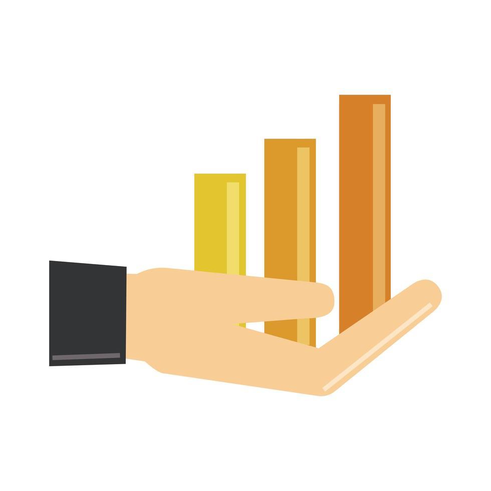 analisi dei dati, statistiche di mano riportano icona piatta finanziaria vettore