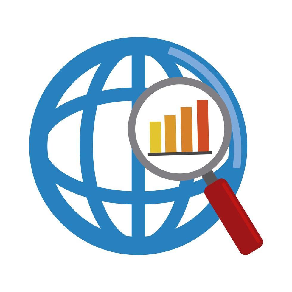analisi dei dati, icona piana di rapporto finanziario diagramma di lente di ingrandimento del mondo vettore