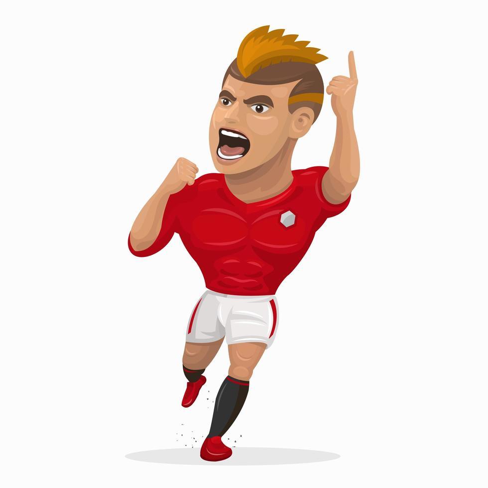 giocatore di calcio dei cartoni animati che urla vettore