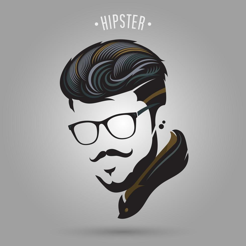 uomo hipster con baffi e occhiali vettore