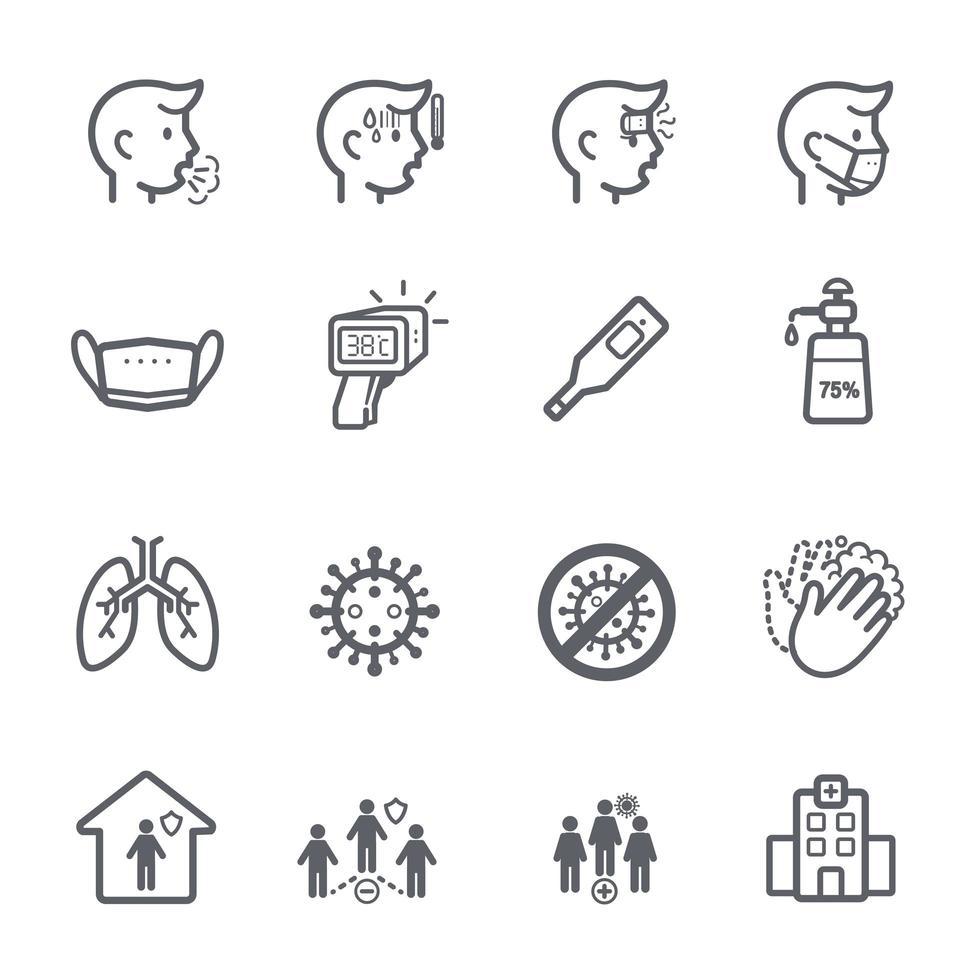 set di icone di coronavirus vettore