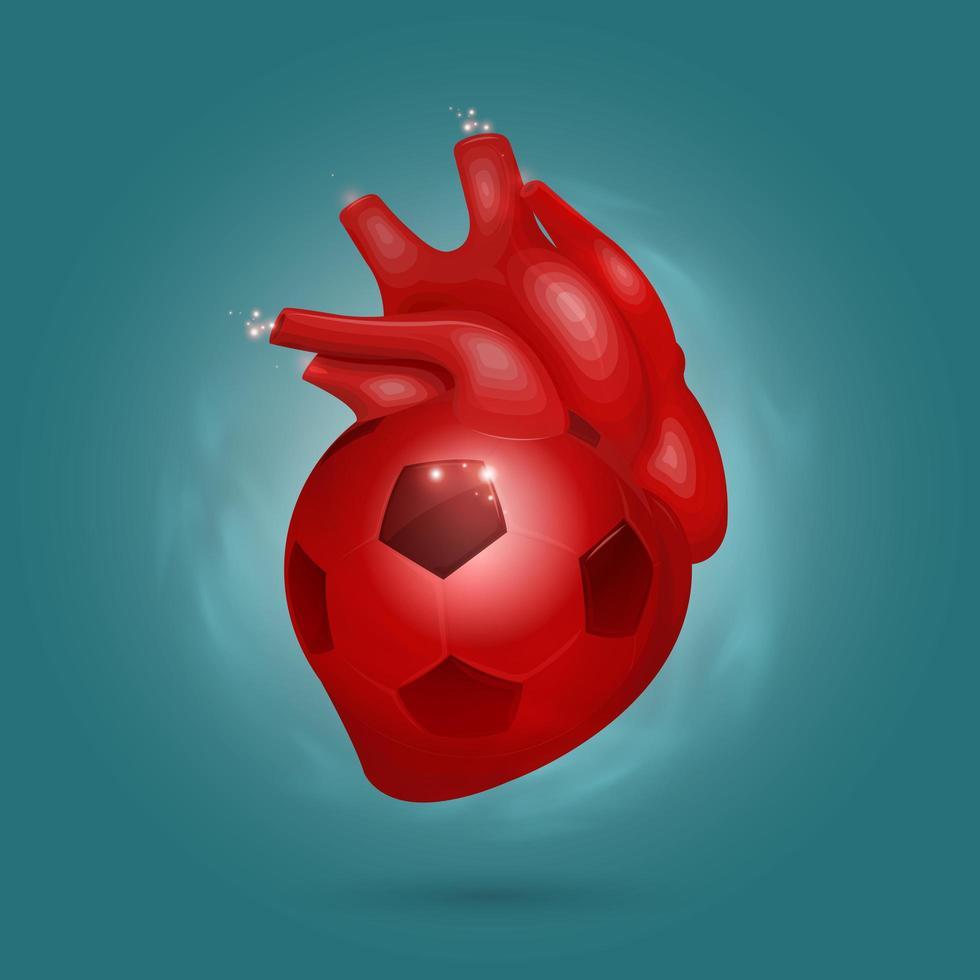 cuore rosso come un pallone da calcio vettore