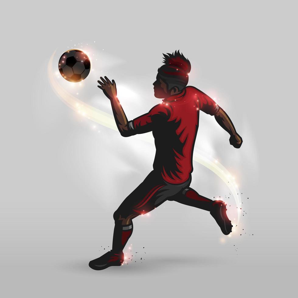 sagoma di giocatore di calcio calciare un pallone da calcio vettore