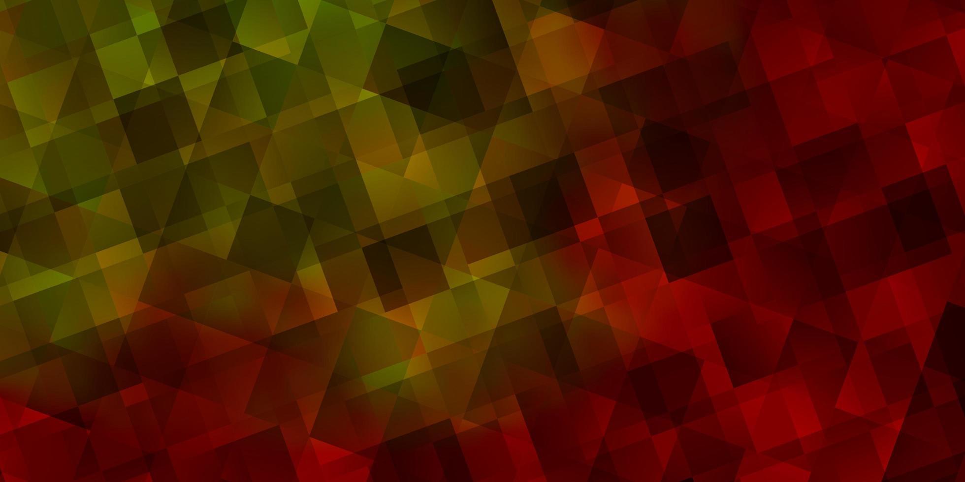 layout vettoriale rosso chiaro, giallo con linee, triangoli.