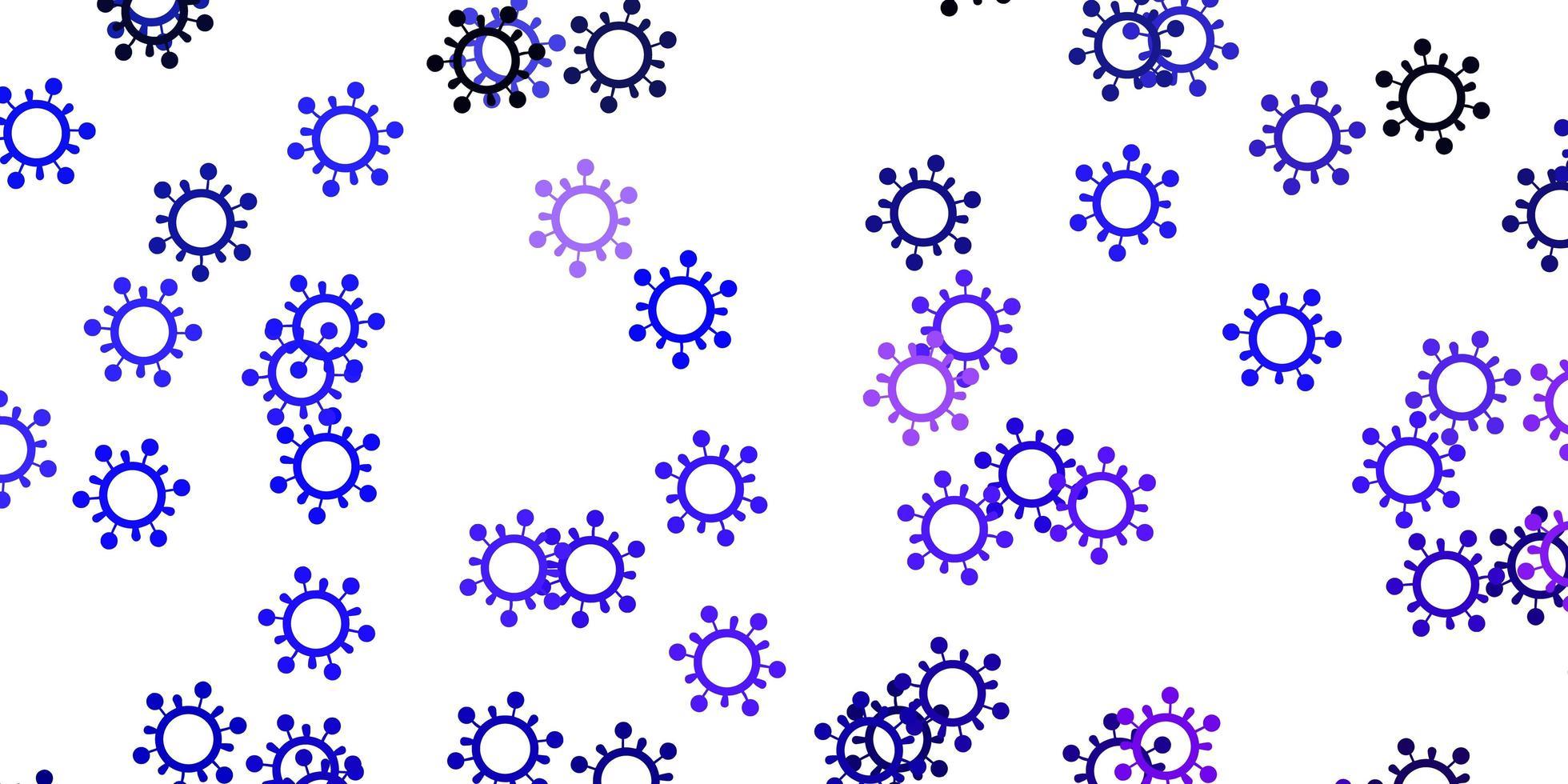 sfondo vettoriale viola chiaro con simboli covid-19.