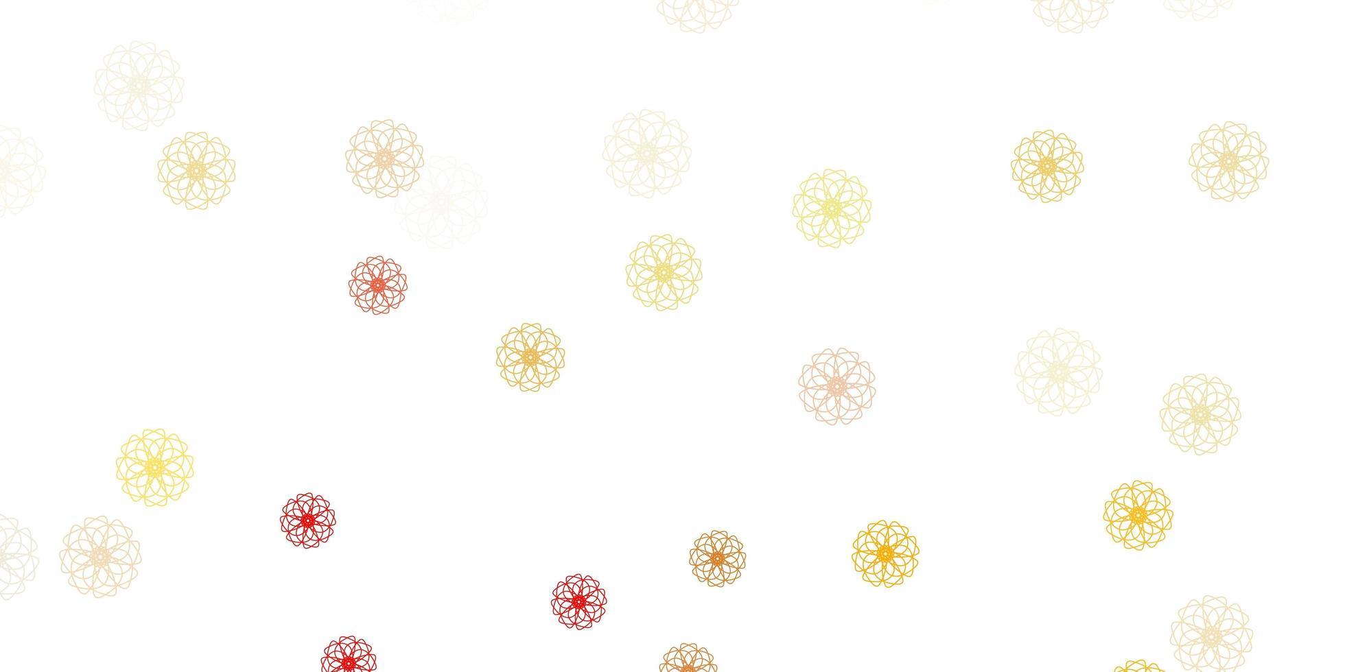 sfondo doodle vettoriale rosa chiaro, giallo con fiori.