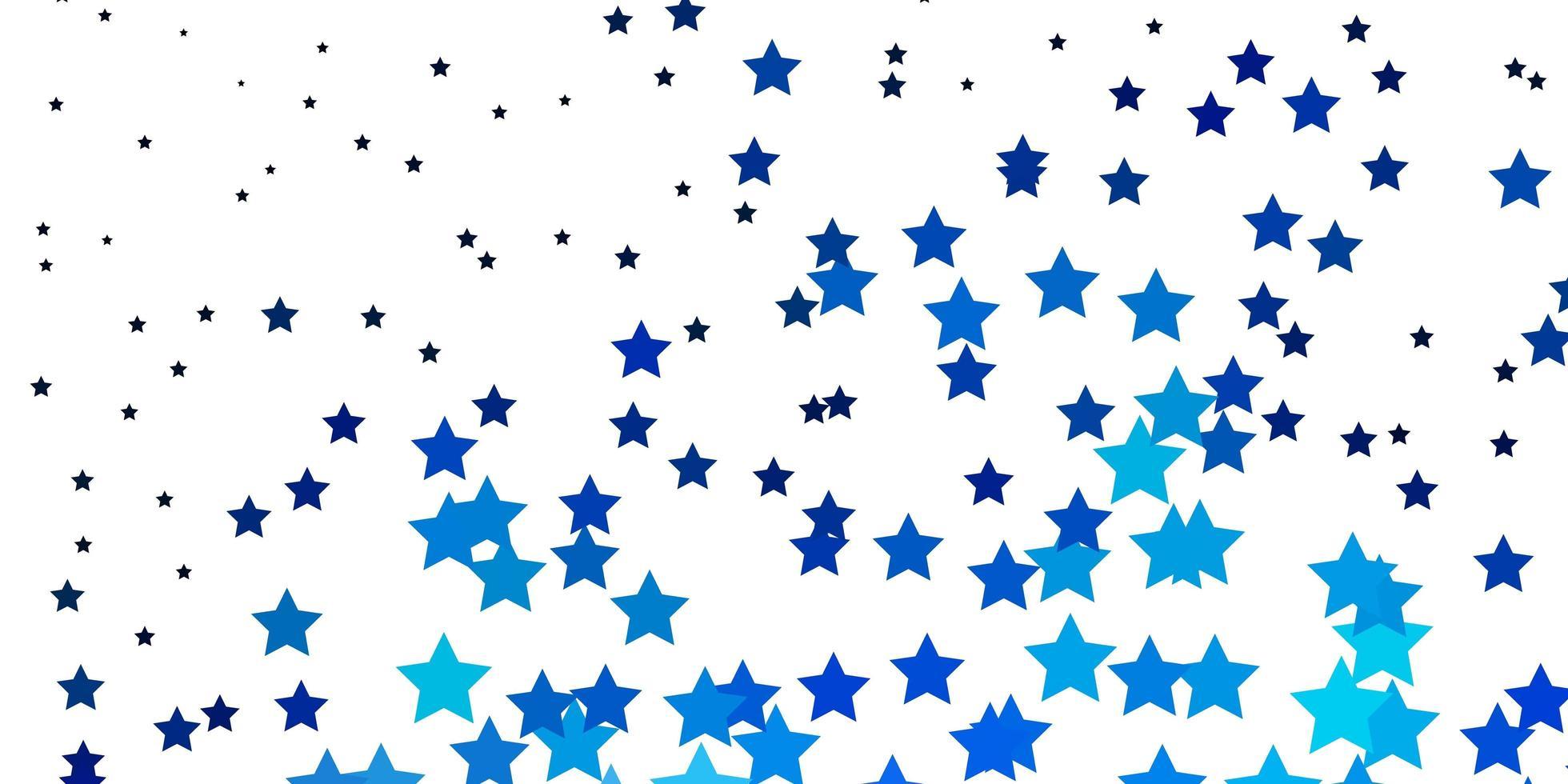sfondo vettoriale azzurro con stelle piccole e grandi.