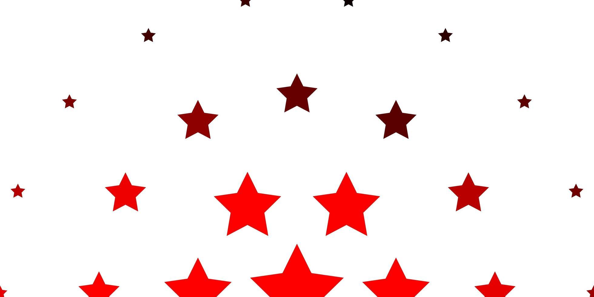 sfondo vettoriale rosso chiaro con stelle colorate.