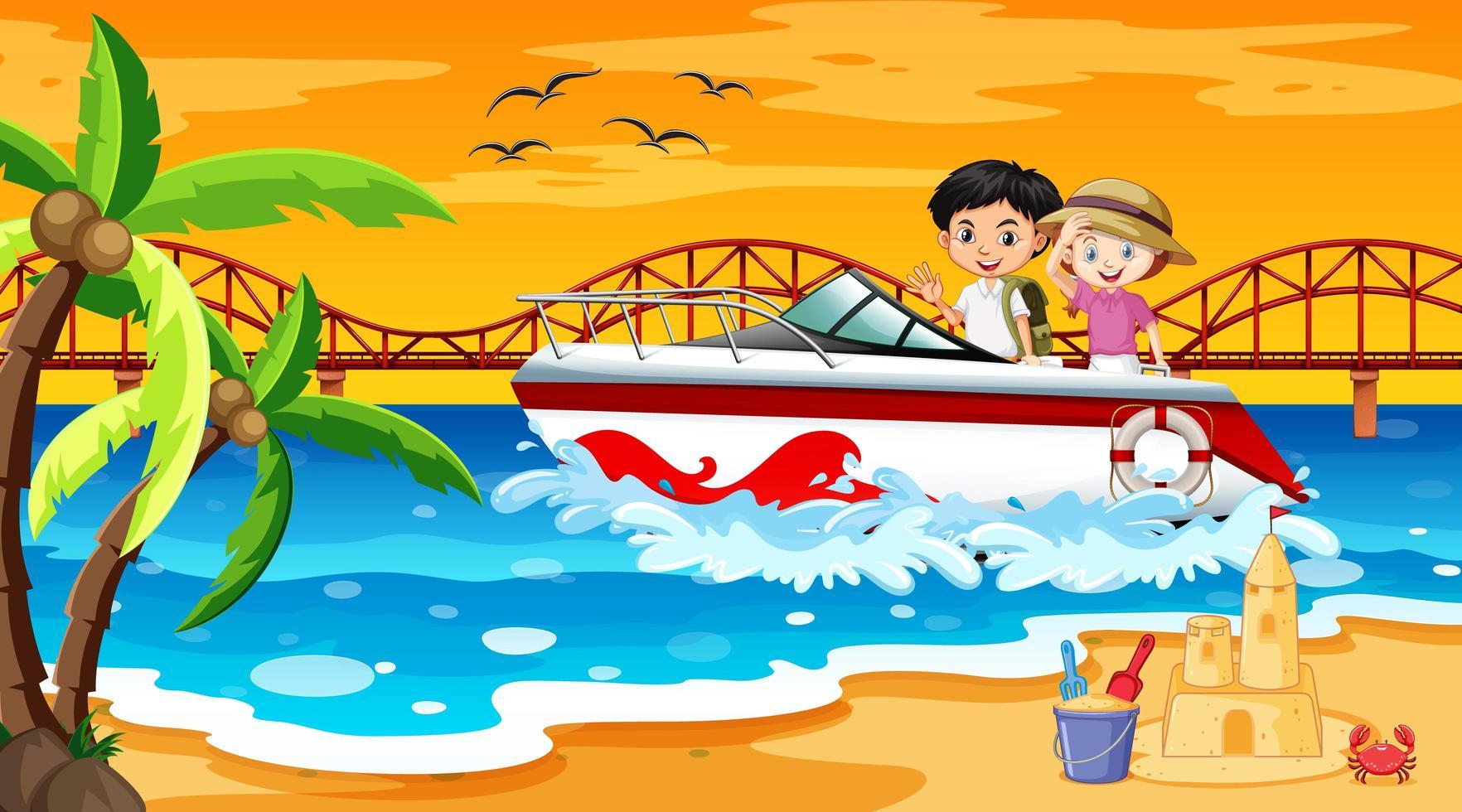 scena della spiaggia con bambini in piedi su un motoscafo vettore