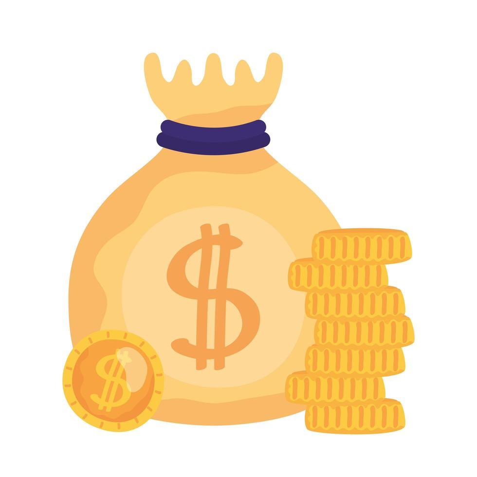 isolato sacchetto di denaro e monete disegno vettoriale