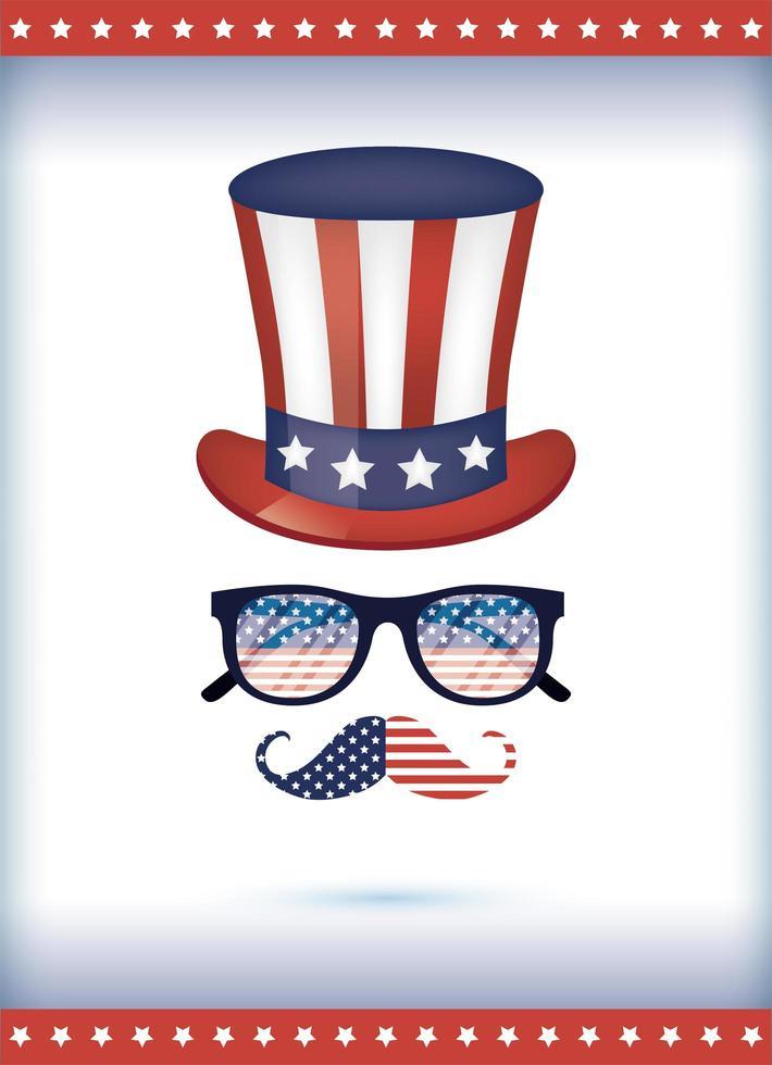 USA cappello occhiali e baffi disegno vettoriale
