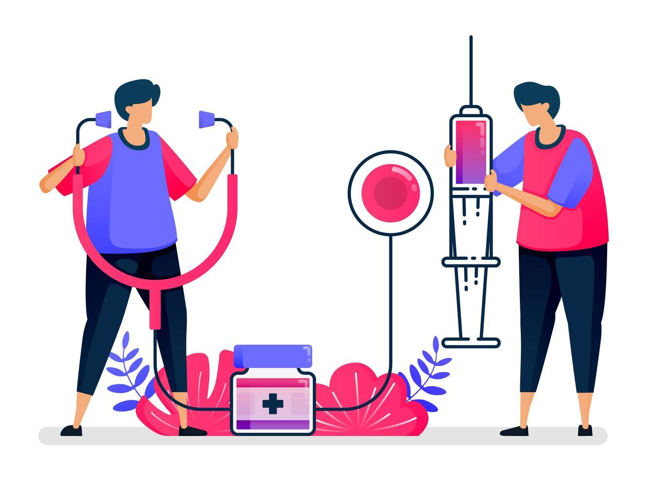 illustrazione vettoriale piatta dei servizi di sanità pubblica per la vaccinazione, il trattamento, la terapia e la medicina. design per l'assistenza sanitaria. può essere utilizzato per landing page, sito web, web, app mobili, poster, volantini