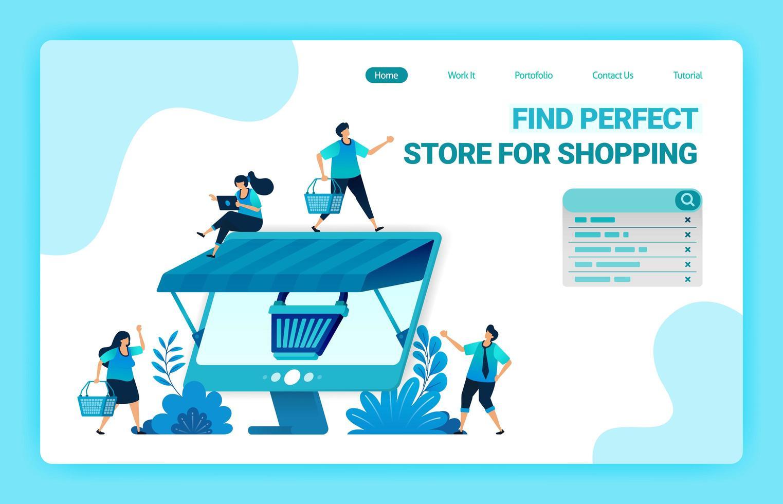 pagina di destinazione dell'e-commerce online con metafora del carrello della spesa e monitor con tetto. negozi online all'ingrosso e al dettaglio. modello di progettazione di illustrazione vettoriale per web, siti Web, sito, banner, flyer