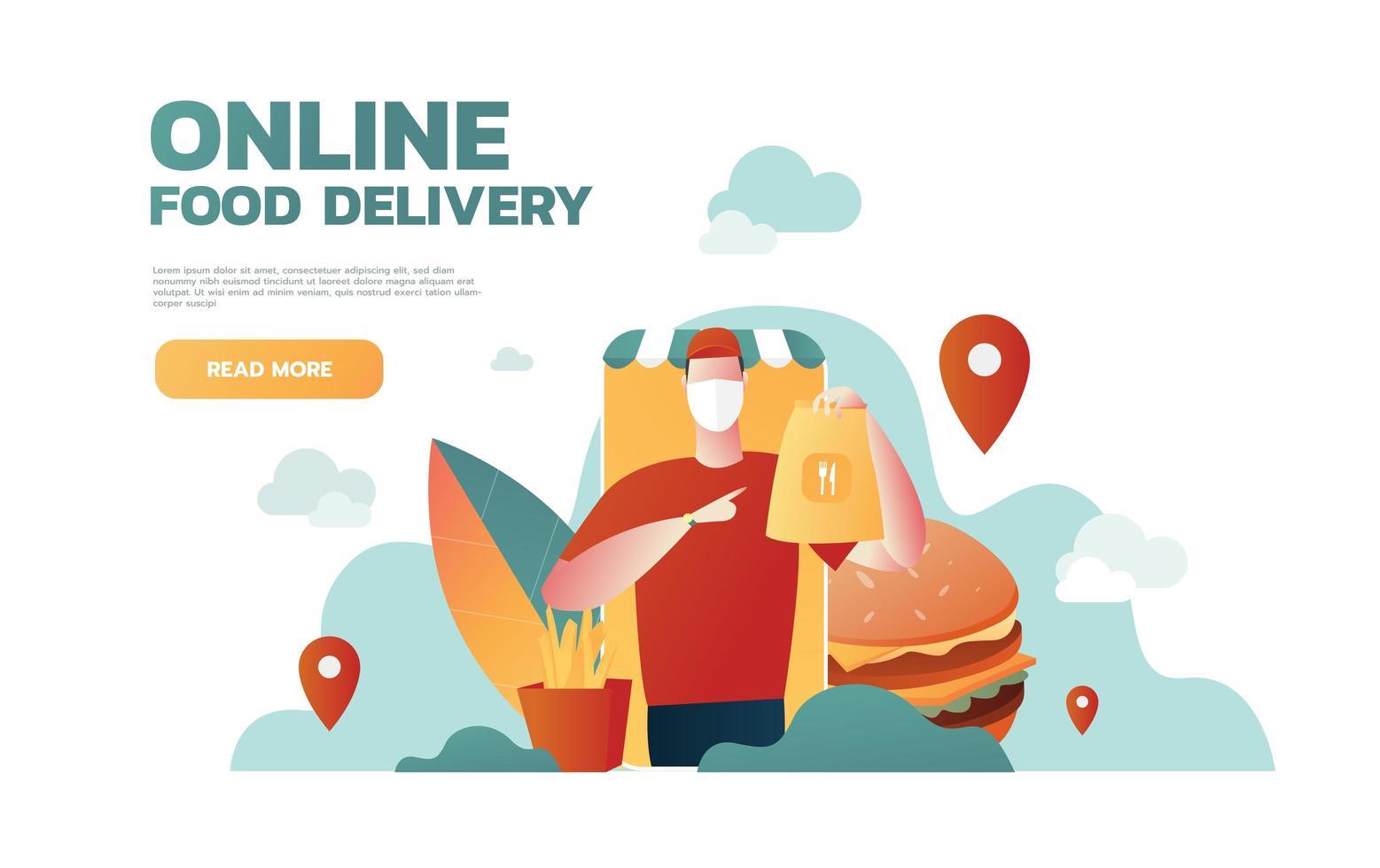 consegna cibo online. allontanamento sociale, mantenere la distanza per ridurre il rischio di infezione per prevenire il virus covid-19. illustrazione vettoriale piatta