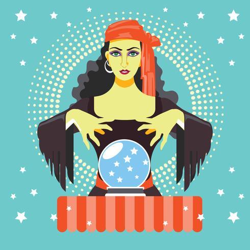 Fortune teller con Crystal Ball vettore
