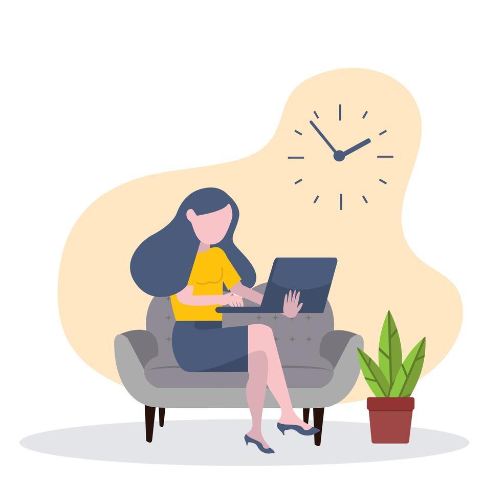 imprenditrice lavorando con il computer portatile sul divano concetto vettore