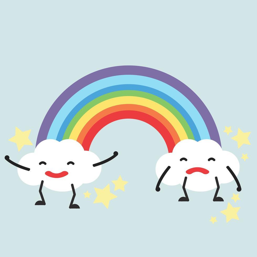 arcobaleno pastello con nuvole divertenti vettore