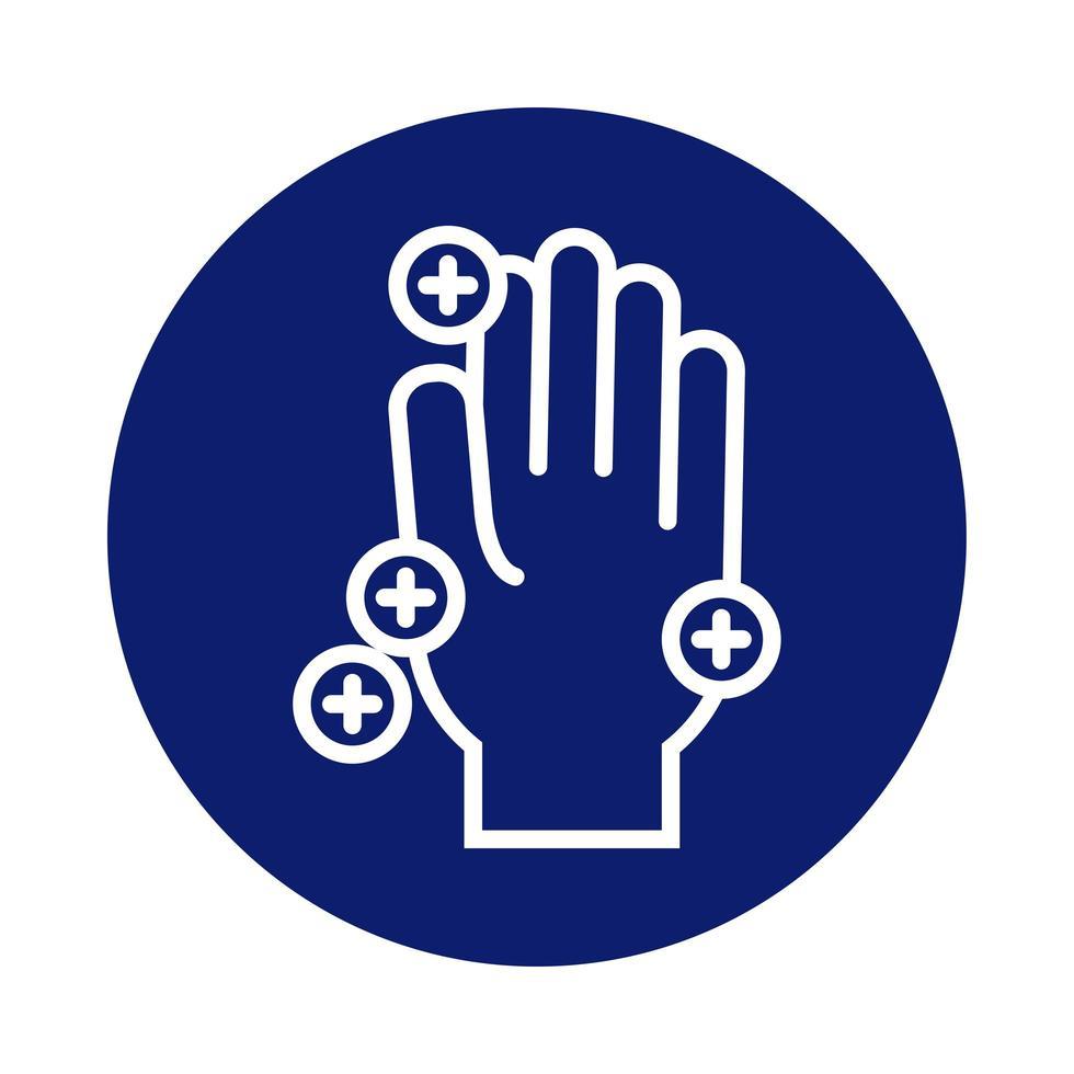 lavaggio a mano con icona di stile blocco particelle covid19 vettore