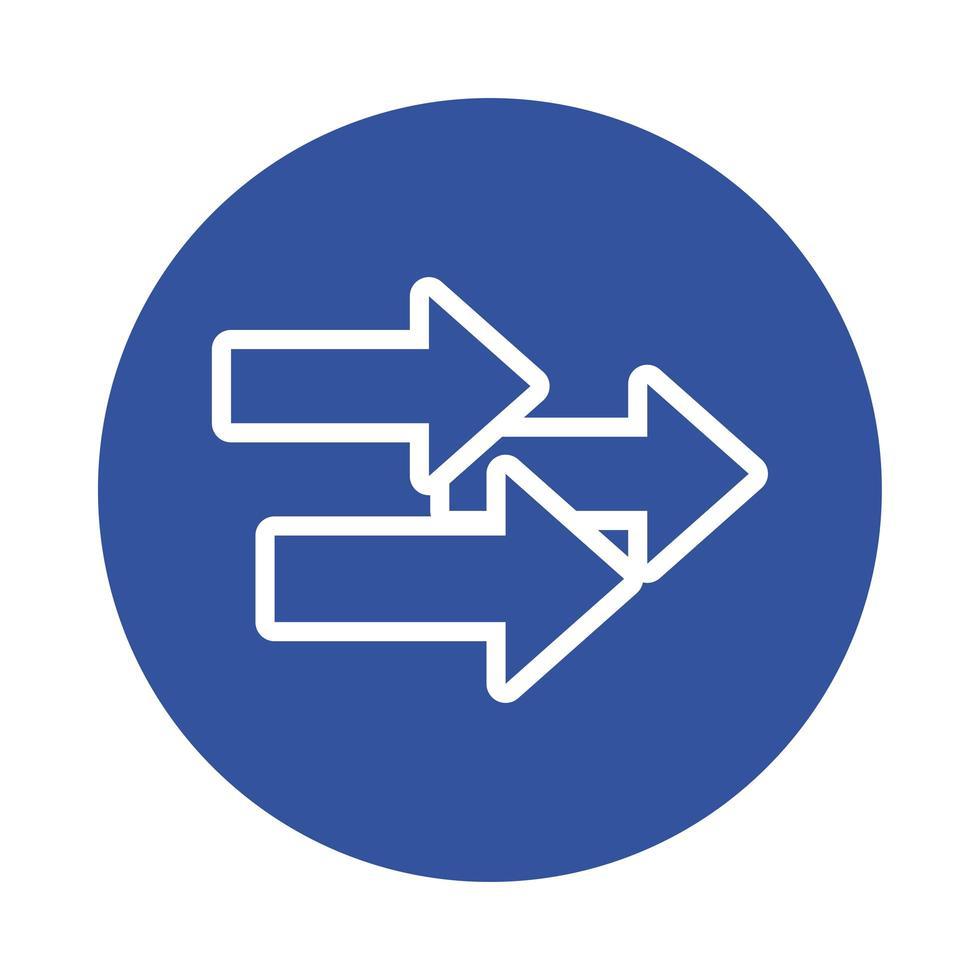 icona di stile blocco indice frecce vettore