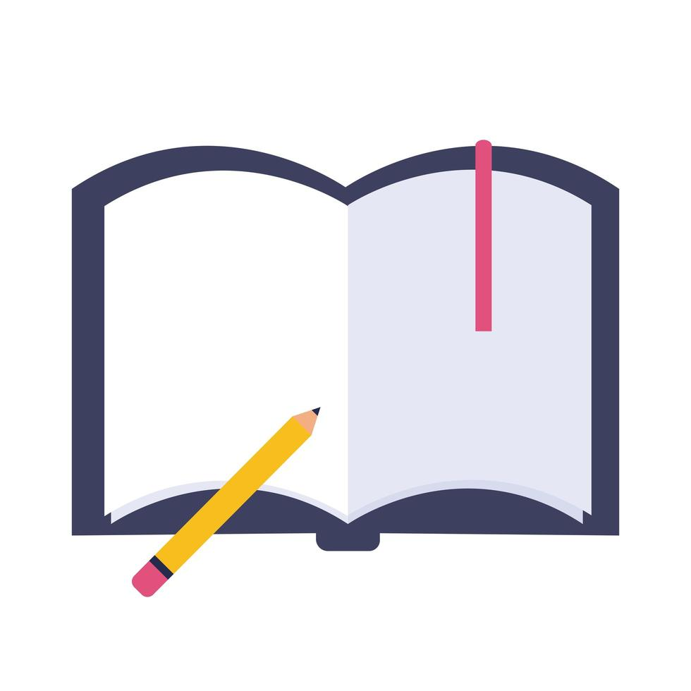 libro di testo con icona di stile piatto matita vettore