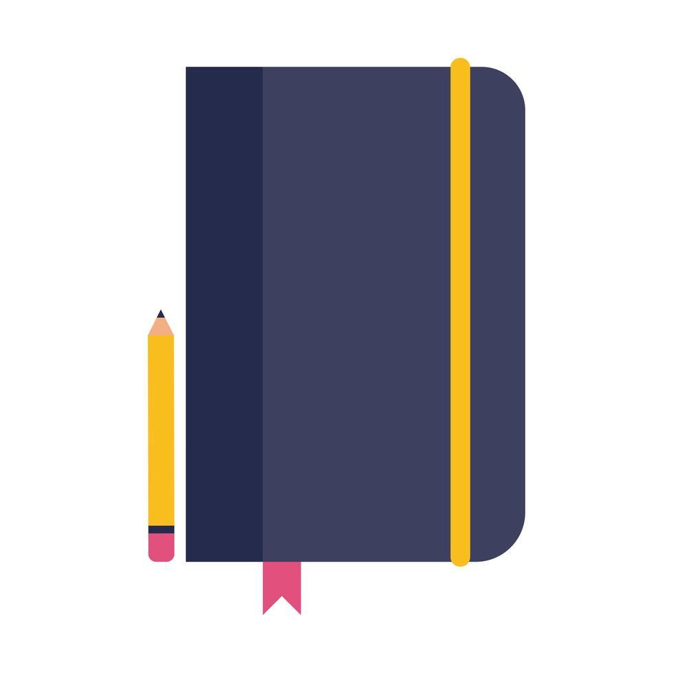 taccuino con icona di stile piatto matita vettore