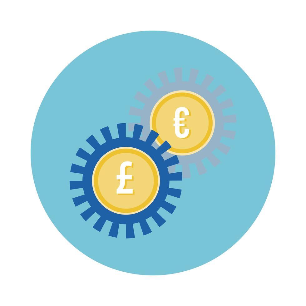 euro e sterline monete ingranaggi stile blocco vettore