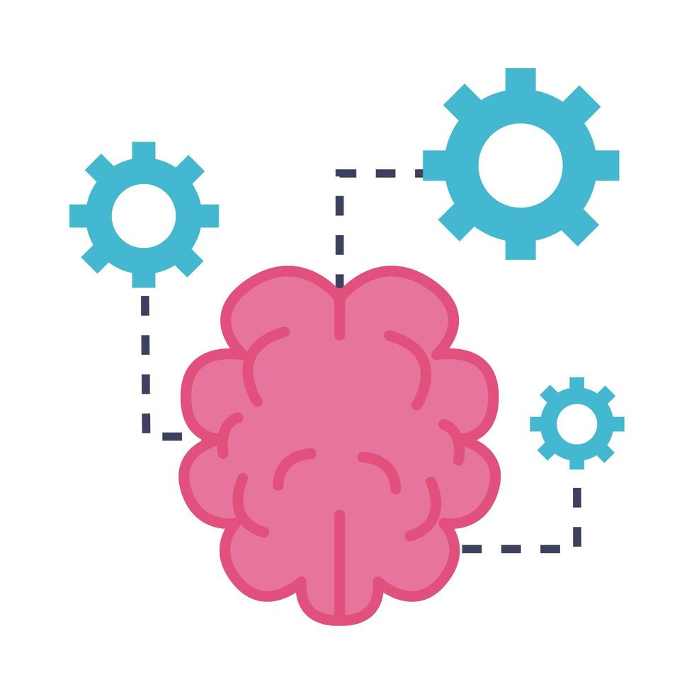cervello con icona di stile piatto ingranaggi vettore