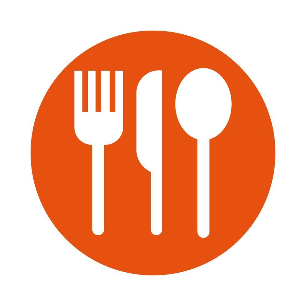 coltello con forchetta e cucchiaio stile linea posate vettore